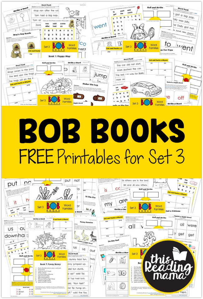 FREE Set 3 BOB Books Printables - This Reading Mama