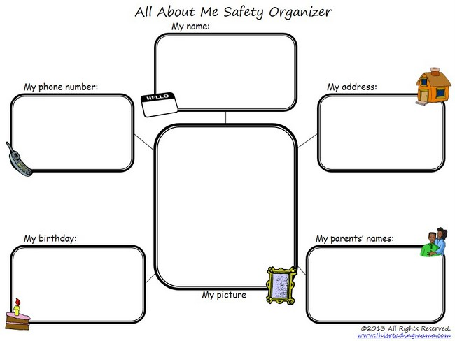 FREE All About Me-Safety Organizer | This Reading Mama