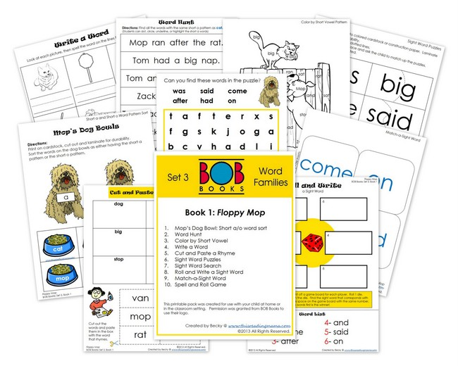 photo regarding Printable Sight Word Books called No cost BOB Reserve Printables: Established 3, Publications 1 and 2