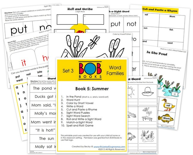 FREE BOB Book Printable Pack for Set 3 Book 5 | This Reading Mama