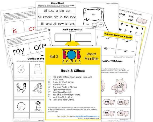 FREE BOB Book Printable Pack for Set 3, Book 6 | This Reading Mama