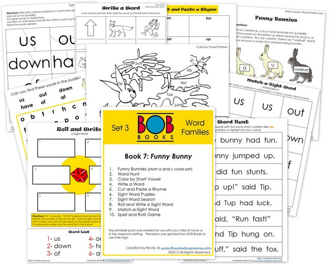 FREE Printable Pack for BOB Books Set 3-Book 7 | This Reading Mama