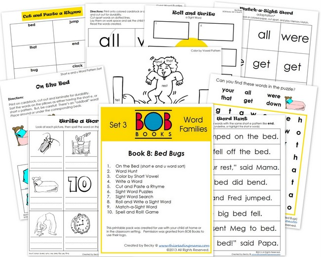 FREE BOB Book Printable Pack for Set 3-Book 8 | This Reading Mama