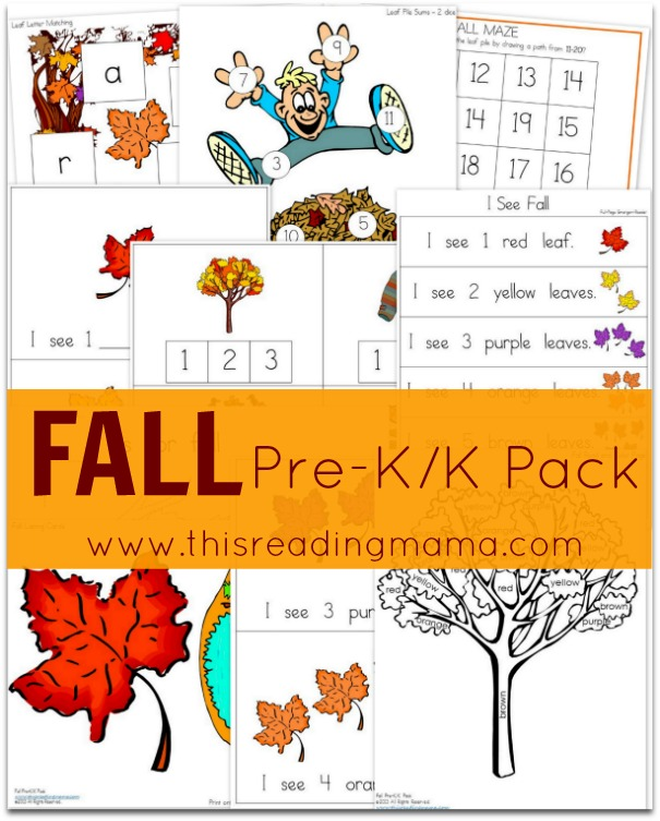 FREE Fall Pre-K-K Pack - This Reading Mama