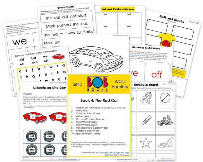 FREE BOB Book Printables for Set 3, Book 4 (The Red Car) | This Reading Mama