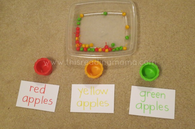 Using Hi Ho Cherry-O pieces to sort by color | This Reading Mama