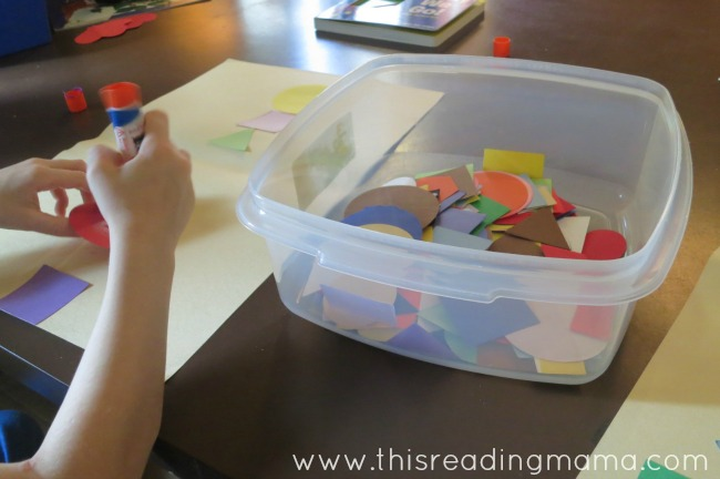 gluing on shapes to create a picture | This Reading Mama