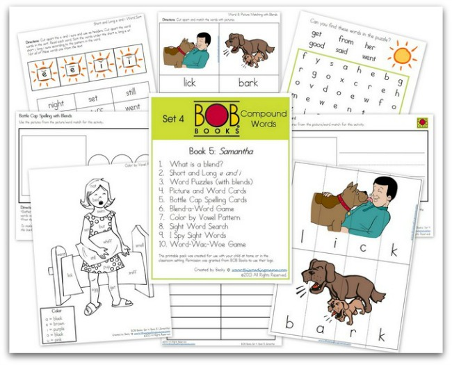 FREE BOB Book Printables for Set 4, Book 5 (Samantha) | This Reading Mama