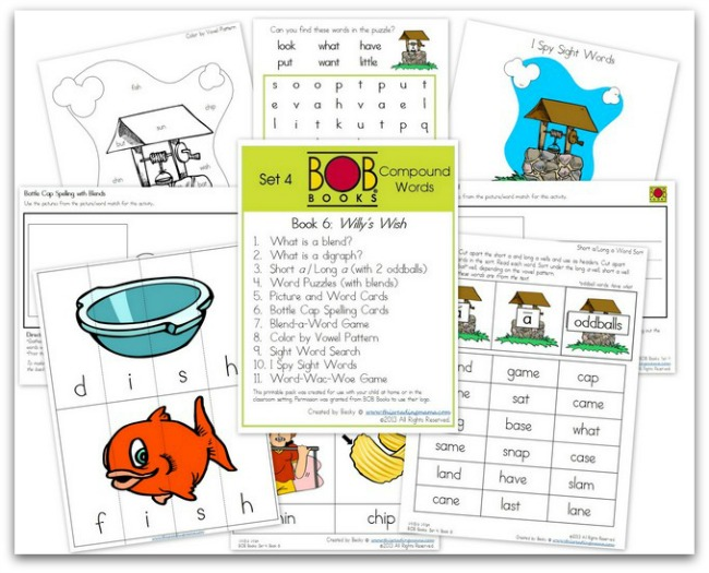 FREE BOB Book Printables for Set 4, Book 6 (Willy's Wish) | This Reading Mama