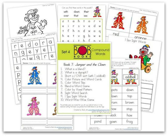 FREE BOB Book Printables for Set 4, Book 7 (Jumper and the Clown)