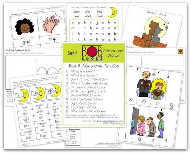FREE BOB Book Printables for Set 4, Book 8 (Max and the Tom Cats)