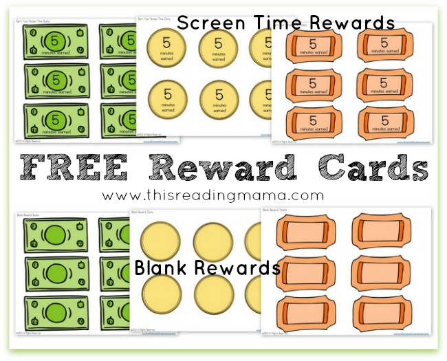 FREE Reward Cards for Earned Screen Time | This Reading Mama