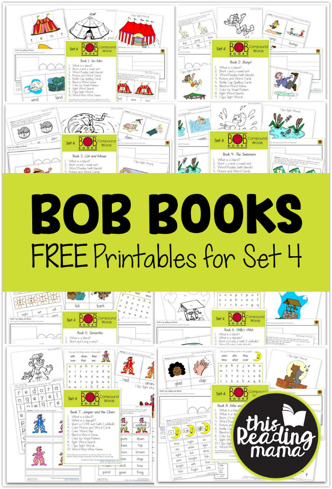 FREE BOB Books Printables for Set 4 - This Reading Mama