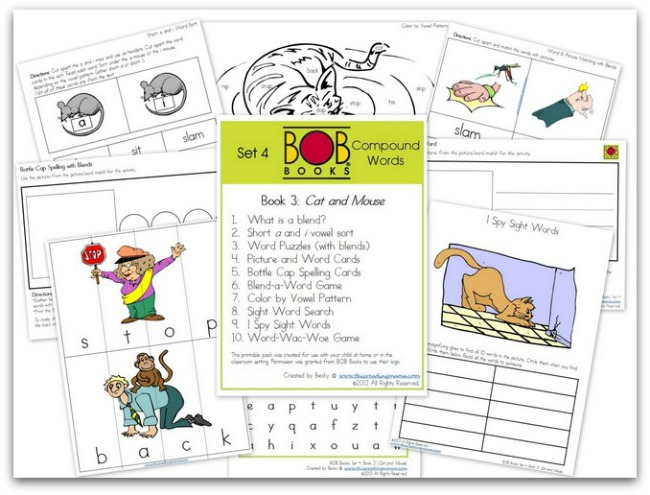 FREE BOB Book Printables for Set 4, Book 3 (Cat and Mouse) | This Reading Mama