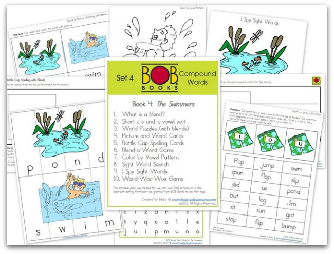 FREE BOB Book Printables for Set 4, Book 4 (The Swimmers) | This Reading Mama