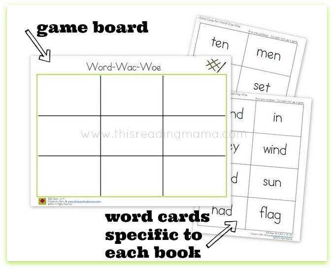 Word-Wac-Woe Game Board and word cards for BOB Books | This Reading Mama