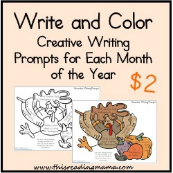 Write and Color ~ Creative Writing Prompts for Each Month of the Year | This Reading Mama