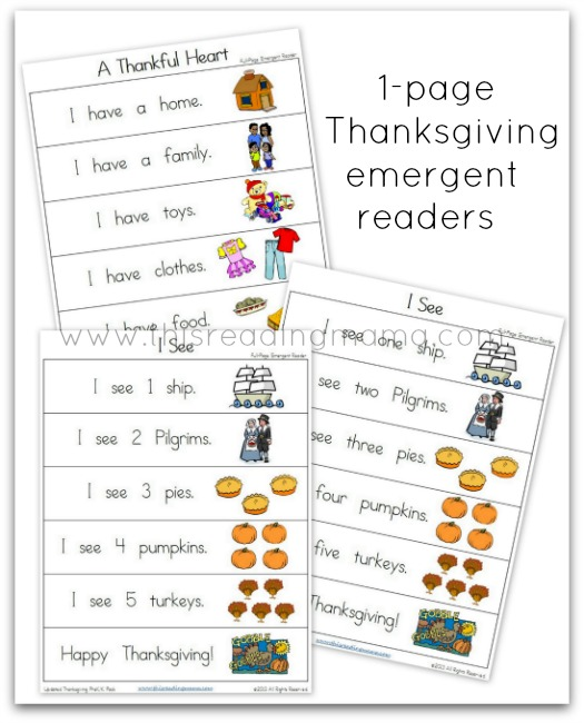 FREE 1-page Thanksgiving Emergent Readers | This Reading Mama