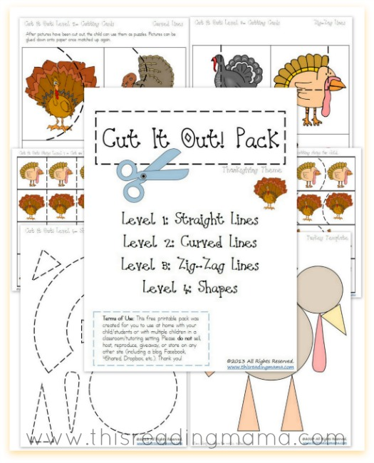 FREE Cutting Practice Pack {Thanksgiving Cut it Out!}