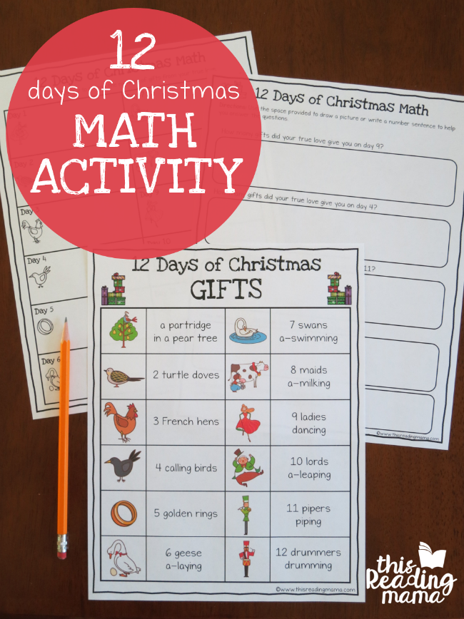 12 Days of Christma Math Activity from This Reading Mama