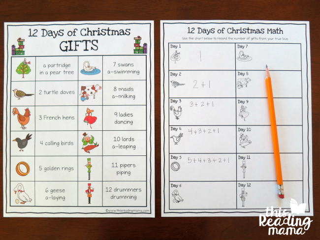 12 days of christmas math activity gift chart - How Many Gifts In 12 Days Of Christmas