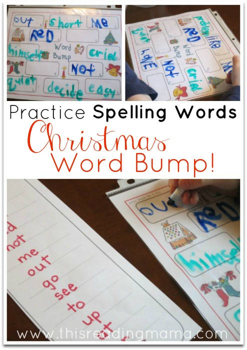 Practice Spelling Words with Christmas Word Bump | This Reading Mama
