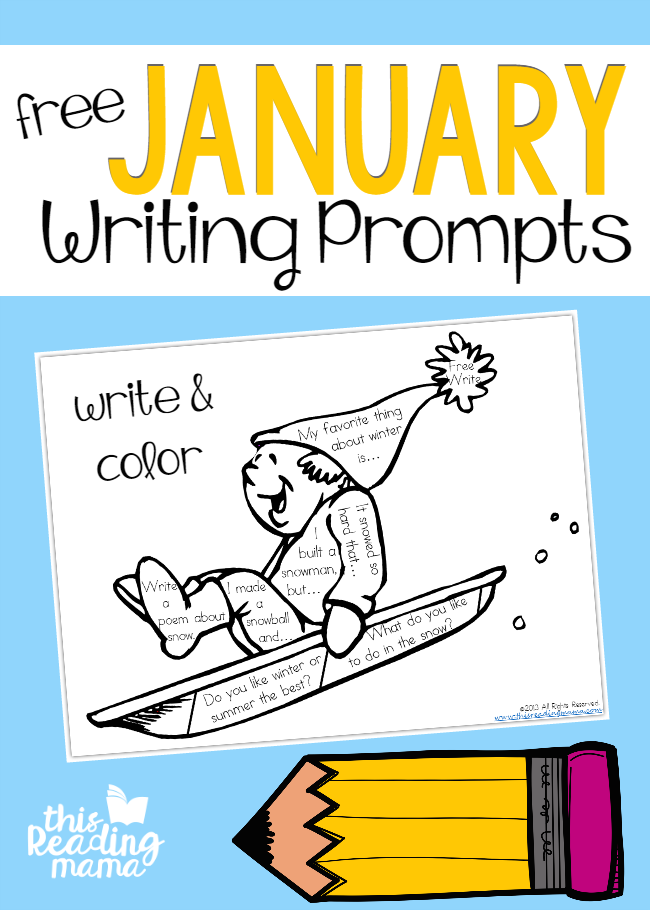 Free January Writing Prompts - Write and Color - This Reading Mama