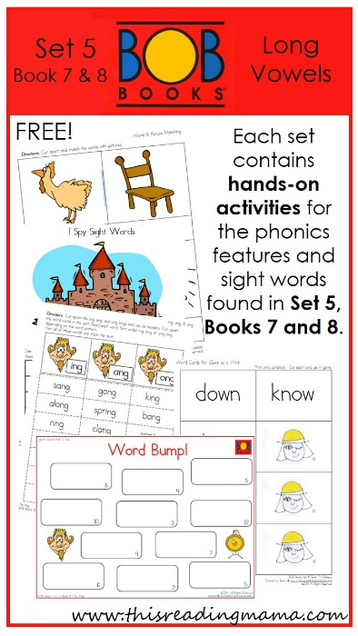 FREE BOB Book Printables for Set 5, Books 7 and 8 | This Reading Mama