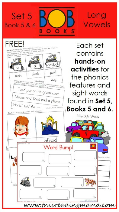 FREE BOB Book Printables for Set 5, Book 5 and 6 | This Reading Mama
