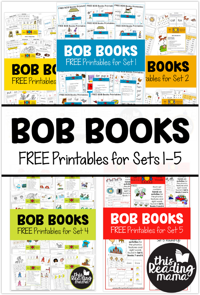 FREE BOB Books Printables for Sets 1-5 from This Reading Mama