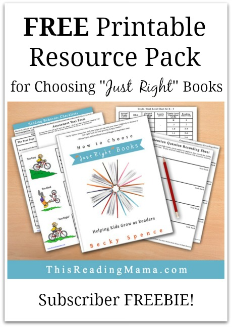 "FREE Printable Resource Pack for Choosing ""Just Right"" Books 