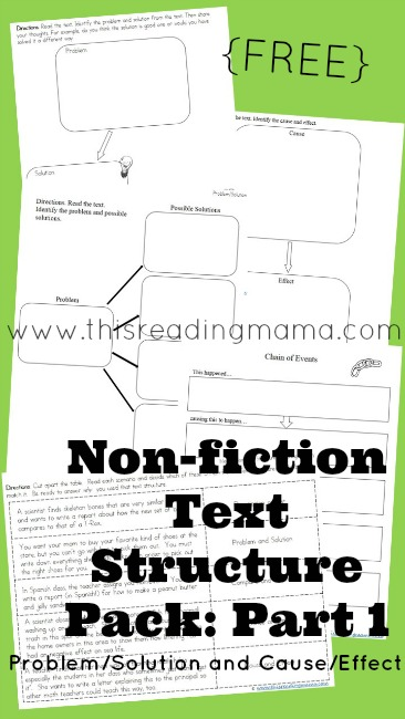 FREE Nonfiction Text Structure Pack- Part 1 (Problem/Solution and Cause/Effect) | This Reading Mama