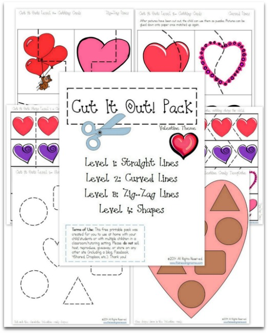 FREE Cutting Practice Pack for Valentines {Cut It Out!}