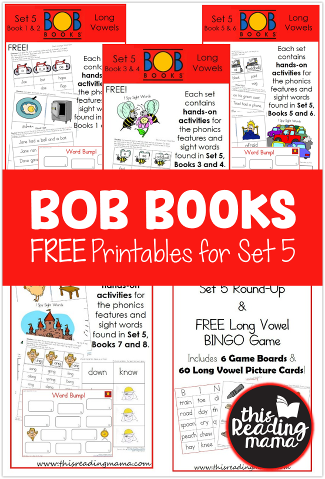 Free BOB Books Printables for Set 5 - This Reading Mama