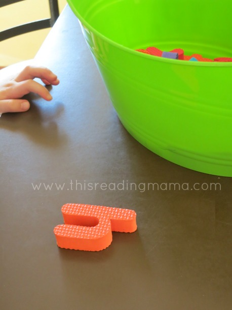 Take out one letter at a time, ask letter name and letter sound