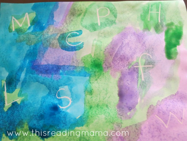 crayon resist letter find for preschoolers