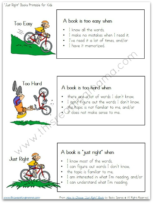 "FREE Printable for Helping Kids Find ""Just Right"" Books 