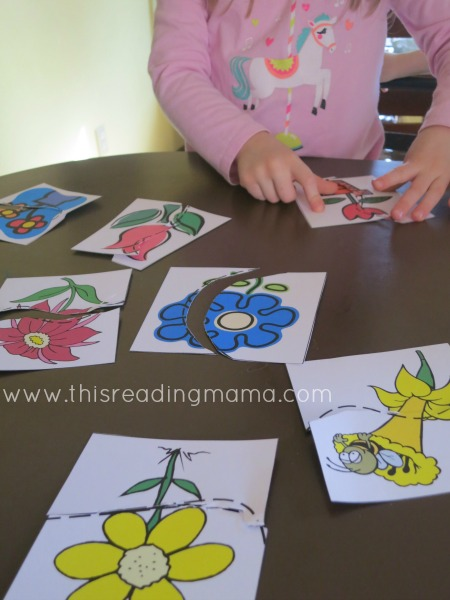 cutting practice with scissors - matching pictures like puzzles