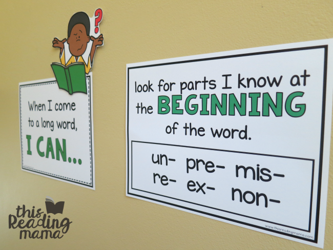 strategies for reading longer words wall set-This Reading Mama