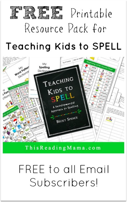 FREE Printable Resource Pack for Teaching Kids to Spell {new subscriber freebie}