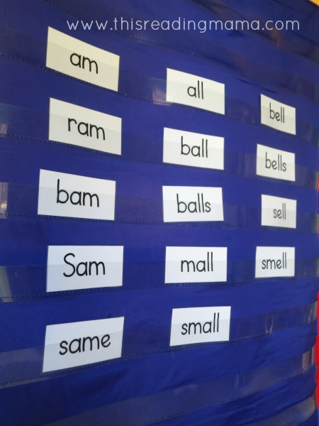 words sorted by pattern on pocket chart