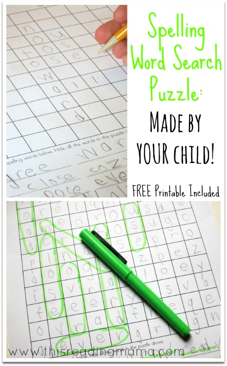 Spelling Word Search Puzzles ~ Made by Your Child!