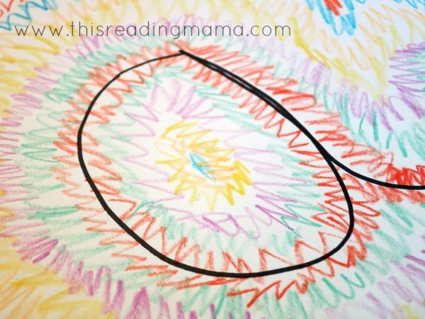 cursive name art with crayons