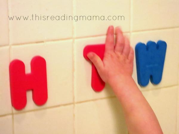 playing with letters in the tub