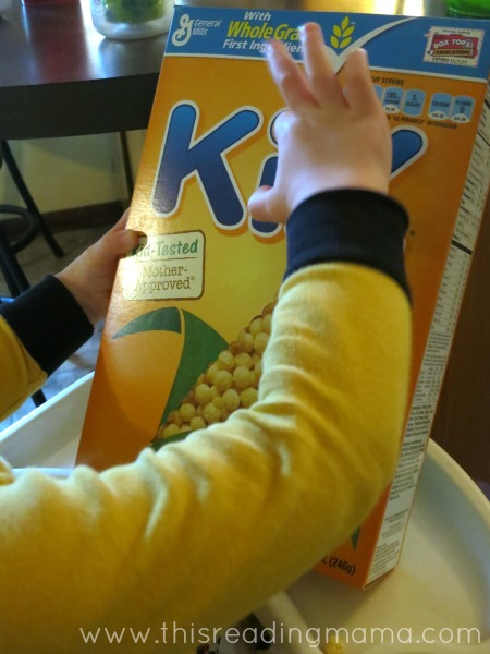 naming letters on the cereal box