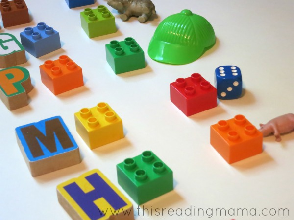 alphabet matching activity with LEGO bricks