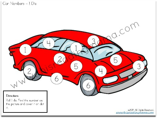 Do a Dot Number Pages for 1 Die example from Reading the Alphabet Bundle Pack