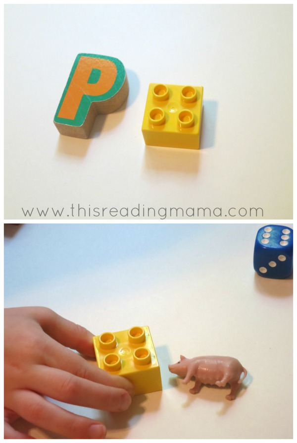 matching letters to letter sounds with LEGO bricks
