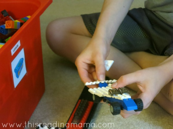 buillding with LEGO bricks during read aloud time