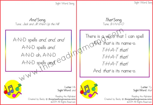 sight word songs from Reading the Alphabet Bundle Pack